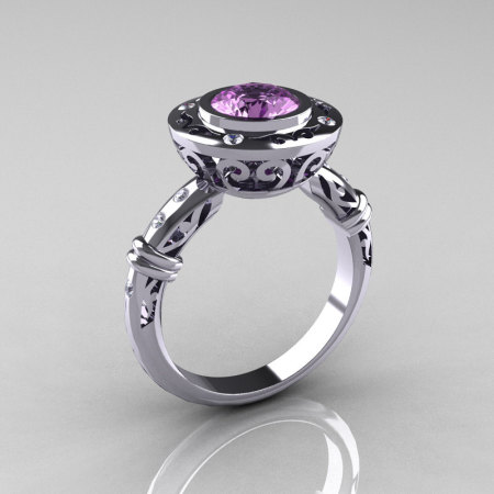 Modern Antique 14K White Gold 1.0 Carat Lilac Amethyst Diamond Designer Engagement Ring RR131-14KWGDLA-1