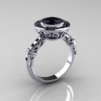 Modern Antique 14K White Gold 1.0 Carat Black Diamond Designer Engagement Ring RR131-14KWGBDD-1