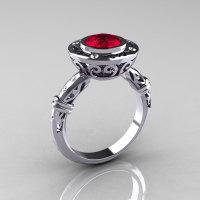 Modern Antique 14K White Gold 1.0 Carat Ruby Diamond Designer Engagement Ring RR131-14KWGDRR-1