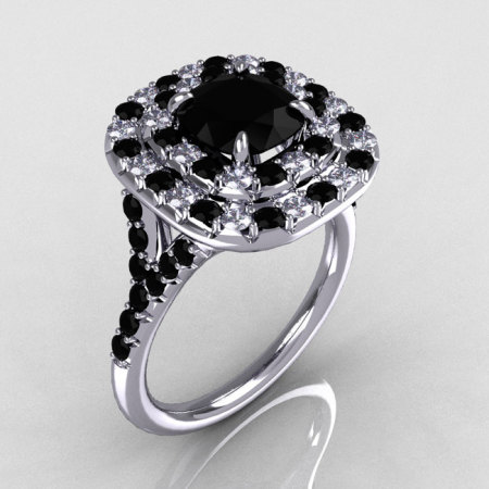 Soleste Style 14K White Gold 1.25 CT Cushion Cut Black and White Diamond Checkerboard Engagement Ring R116-14WGDBLL-1