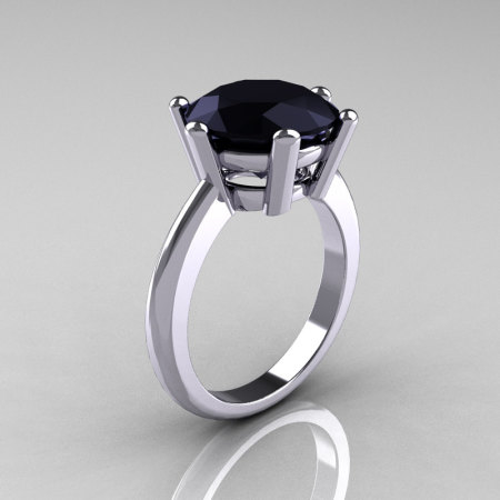 Classic Russian Bridal 10K White Gold 5.0 Carat Black Diamond Solitaire Ring RR133-10KWGBD-1