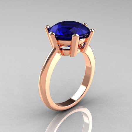 Classic Russian Bridal 14K Rose Gold 5.0 Carat Blue Sapphire Solitaire Ring RR133-14KRGBD-1