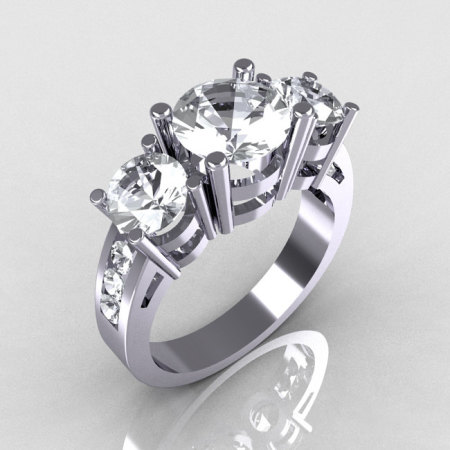 Modern 10K White Gold Three Stone 2.25 Carat Total Round White Sapphire Bridal Ring R94-10KWGWS-1