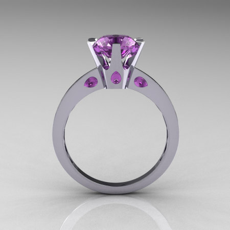 French 14K White Gold 1.5 Carat Lilac Amethyst Designer Solitaire Engagement Ring R151-14KWGLA-1