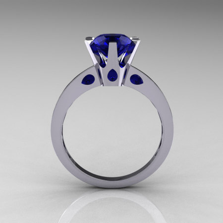 French 10K White Gold 1.5 Carat Blue Sapphire Designer Solitaire Engagement Ring R151-10KWGBS-1