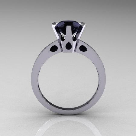 French 950 Platinum 1.5 Carat Black Diamond Designer Solitaire Engagement Ring R151-PLATBD-1
