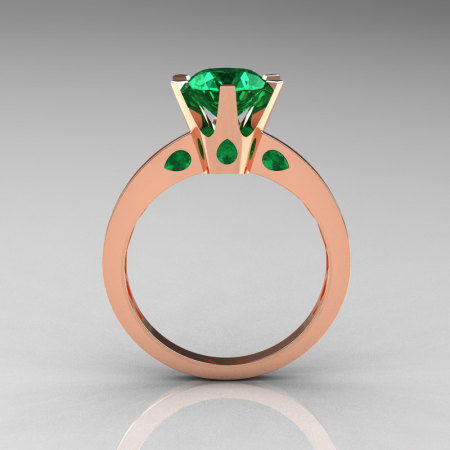 French 14K Rose Gold 1.5 Carat Emerald Designer Solitaire Engagement Ring R151-14KRGEM-1