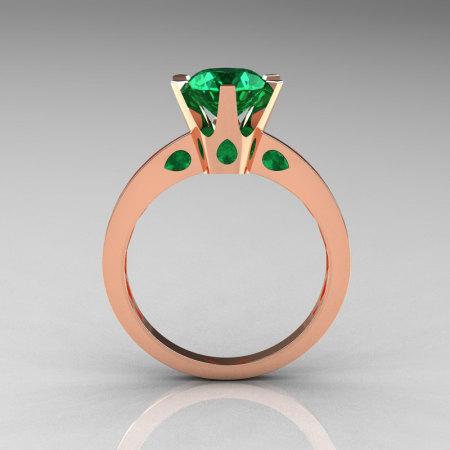 French 14K Rose Gold 1.5 Carat Emerald Designer Solitaire Engagement Ring R151-14KRGEM-1