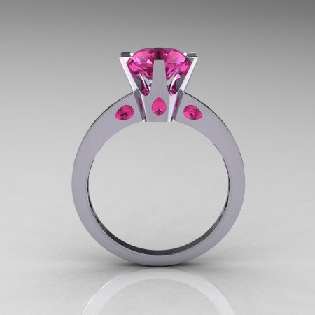 French 14K White Gold 1.5 Carat Pink Sapphire Designer Solitaire Engagement Ring R151-14KWGPS-1