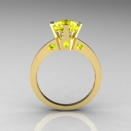 French 10K Yellow Gold 1.5 Carat Yellow Sapphire Designer Solitaire Engagement Ring R151-10KYGYS-1