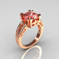Modern Vintage 18K Rose Gold 3.0 Carat Morganite Diamond Solitaire Ring R102-18KRGDMO-1