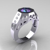 Gentlemens Modern Edwardian 10K White Gold 1.5 Carat Alexandrite Diamond Engagement Ring MR155-10KWGDAL-1