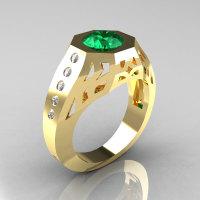 Gentlemens Modern Edwardian 18K Yellow Gold 1.5 Carat Emerald Diamond Engagement Ring MR155-18KYGDEM-1