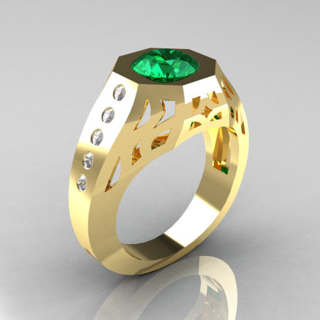 Gentlemens Modern Edwardian 18K Yellow Gold 1.5 Carat Emerald Diamond Engagement Ring MR155-18KYGDEM-1