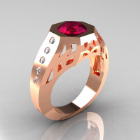 Gentlemens Modern Edwardian 14K Rose Gold 1.5 Carat Garnet Diamond Engagement Ring MR155-14KRGDG-1