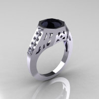 Modern Edwardian 10K White Gold 1.5 Carat Black Diamond Engagement Ring R155-10KWGDBD-1