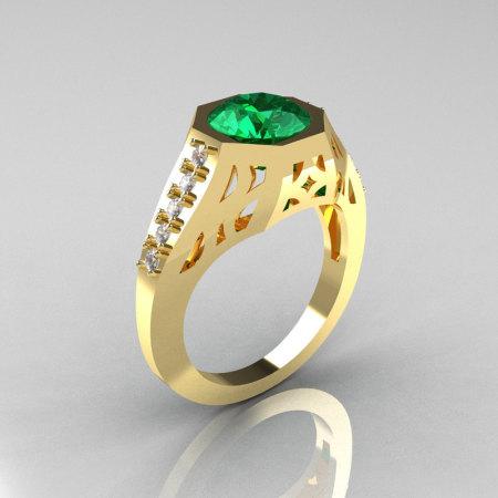 Modern Edwardian 18K Yellow Gold 1.5 Carat Emerald Diamond Engagement Ring R155-18KYGDEM-1