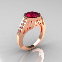 Modern Edwardian 14K Rose Gold 1.5 Carat Garnet Diamond Engagement Ring R155-14KRGDG-1