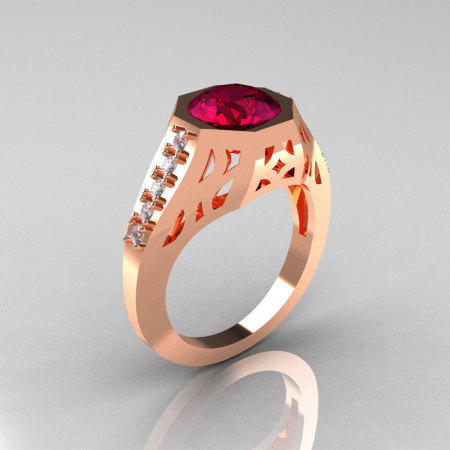Modern Edwardian 14K Rose Gold 1.5 Carat Garnet Diamond Engagement Ring R155-14KRGDG-1