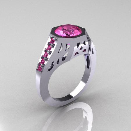 Modern Edwardian 14K White Gold 1.5 Carat Pink Sapphire Engagement Ring R155-14KWGPSS-1