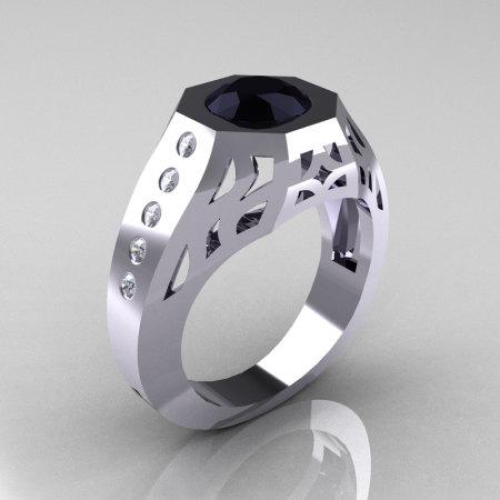 Gentlemens Modern Edwardian 10K White Gold 1.5 Carat Black Diamond Engagement Ring MR155-10KWGDBD-1