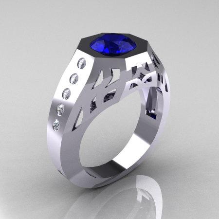 Gentlemens Modern Edwardian 14K White Gold 1.5 Carat Blue Sapphire Diamond Engagement Ring MR155-14KWGDBS-1