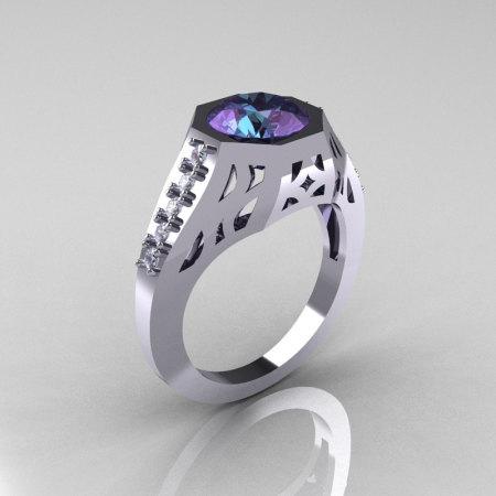 Modern Edwardian 10K White Gold 1.5 Carat Alexandrite Diamond Engagement Ring R155-10KWGDAL-1