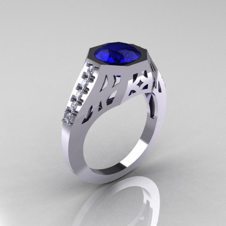 Modern Edwardian 14K White Gold 1.5 Carat Blue Sapphire Diamond Engagement Ring R155-14KWGDBS-1