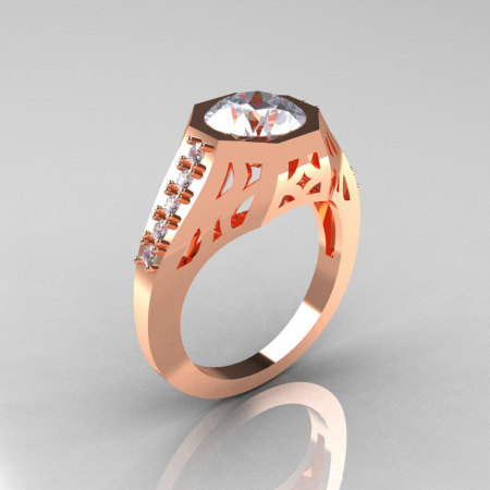 Modern Edwardian 10K Rose Gold 1.5 Carat Zirconia Diamond Engagement Ring R155-10KRGCZ-1