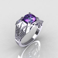 Modern Edwardian 10K White Gold CZ and Alexandrite Designer Ring R85-10KWGCZAL-1