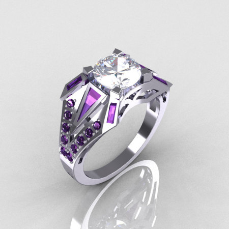 Modern Edwardian 10K White Gold Alexandrite and White Sapphire Designer Ring R85-10KWGWSAL-1