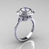 Classic 14K White Gold 1.0 Carat White Sapphire Diamond Bridal Engagement Ring R400-14WGDWS-1