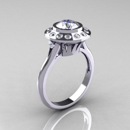 Classic 14K White Gold 1.0 Carat White Sapphire Diamond Bridal Engagement Ring R400-14WGDWS-1