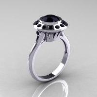 Classic 10K White Gold 1.0 Carat Black Diamond Bridal Engagement Ring R400-10KWGBDD-1