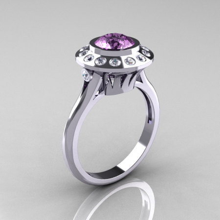 Classic 14K White Gold 1.0 Carat Lilac Amethyst Diamond Bridal Engagement Ring R400-14KWGDLA-1