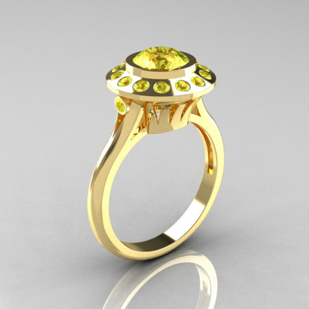 Classic 10K Yellow Gold 1.0 Carat Yellow Topaz Bridal Engagement Ring R400-10KYGYTT-1