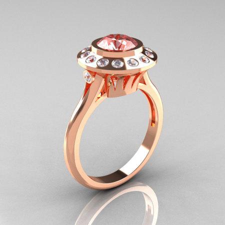 Classic 18K Rose Gold 1.0 Carat Morganite Diamond Bridal Engagement Ring R400-18KRGDMO-1