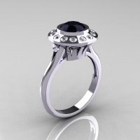 Classic 950 Platinum 1.0 Carat Black and White Diamond Bridal Engagement Ring R400-PLATDBD-1