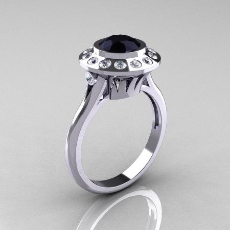 Classic 950 Platinum 1.0 Carat Black and White Diamond Bridal Engagement Ring R400-PLATDBD-1