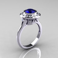 Classic 950 Platinum 1.0 Carat Blue Sapphire Diamond Bridal Engagement Ring R400-PLATDBS-1