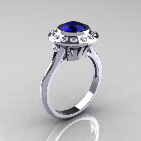 Classic 950 Platinum 1.0 Carat Blue Sapphire Diamond Bridal Engagement Ring R400-PLATDBS-1
