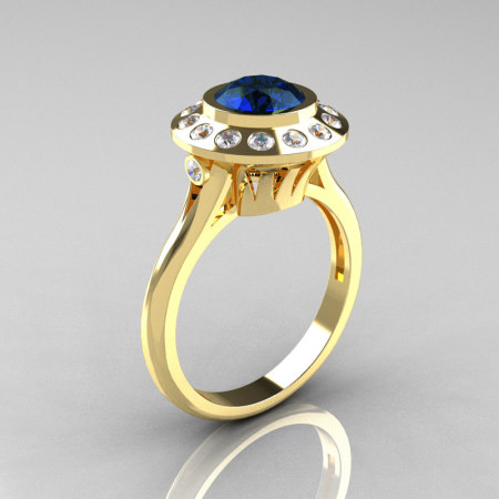 Classic 18K Yellow Gold 1.0 Carat London Blue Sapphire Diamond Bridal Engagement Ring R400-18KYGDLBS-1