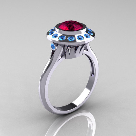 Classic 14K White Gold 1.0 Carat Garnet Blue Topaz Bridal Engagement Ring R400-14KWGBTG-1