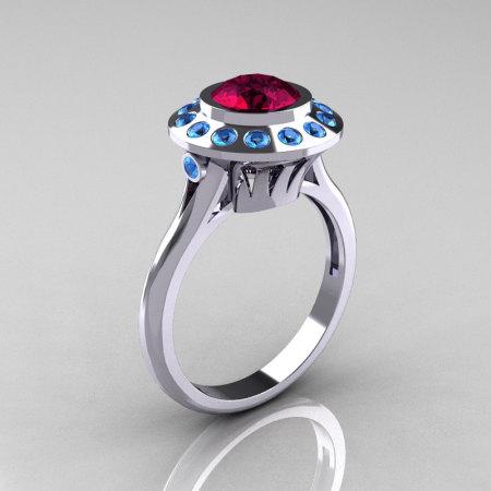 Classic 14K White Gold 1.0 Carat Garnet Blue Topaz Bridal Engagement Ring R400-14KWGBTG-1