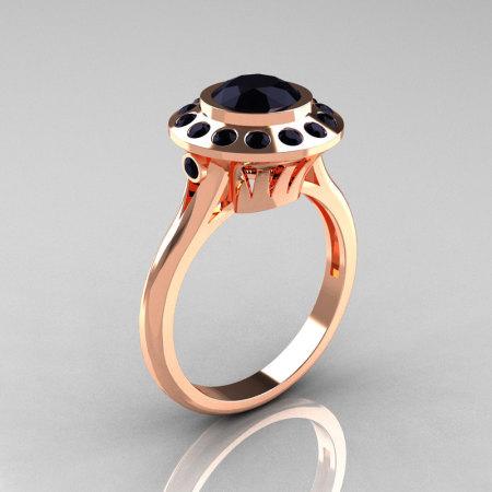 Classic 14K Rose Gold 1.0 Carat Black Diamond Bridal Engagement Ring R400-14KRGBDD-1