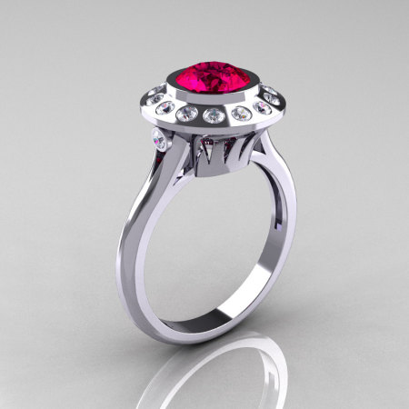 Classic 10K White Gold 1.0 Carat Ruby Diamond Bridal Engagement Ring R400-10KWGDR-1
