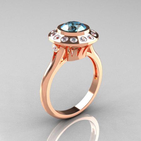 Classic 14K Rose Gold 1.0 Carat Aquamarine Diamond Bridal Engagement Ring R400-14KRGDAQ-1