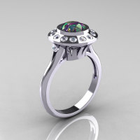 Classic 14K White Gold 1.0 Carat Mystic Topaz Diamond Bridal Engagement Ring R400-14KWGDMT-1