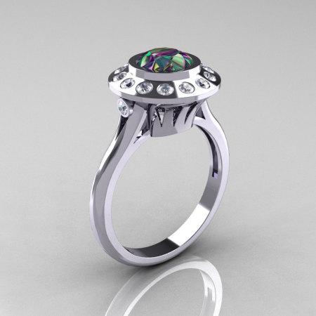 Classic 14K White Gold 1.0 Carat Mystic Topaz Diamond Bridal Engagement Ring R400-14KWGDMT-1