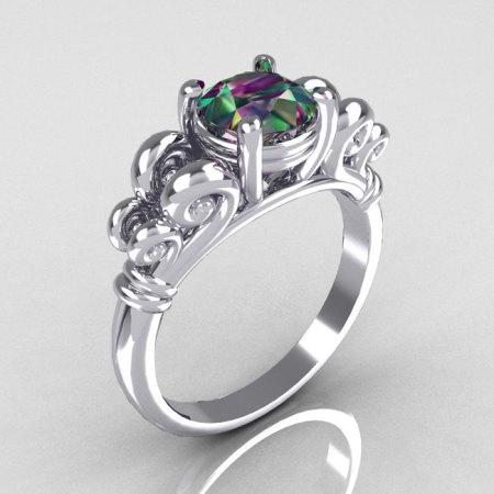 Reserved for Jason – Modern Antique 14K White Gold 1.0 Carat Round Mystic Topaz Designer Solitaire Ring R141-14KWGMT-1